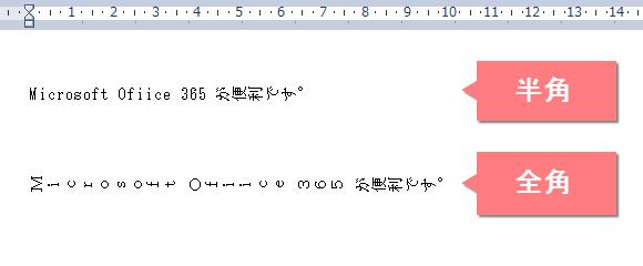 半角は縦書きにならない。英字や数字は全角にすると縦書きになる